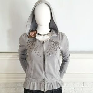 Juicy Couture NWT Light Gray Hoodie, PS, ruffled